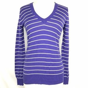 J Crew Factory Stripe V-Neck Sweater Blue Small